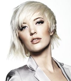 Short Blonde straight coloured choppy platinum white womens haircut hairstyles for women