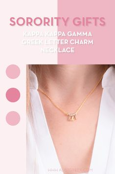 Sorority charm necklaces are the easiest gift for any celebration: Recruitment, Bid Day, Back to School & Big/Little. Spoil your new sorority girl with our simple and dainty Greek letter charm necklace! Kappa Kappa Gamma Gifts | Kappa Kappa Gamma Bid Day | KKG Necklace | Kappa Kappa Gamma Jewelry | Sorority Bid Day & Recruitment | Sorority Jewelry Gifts | Sorority College Gift | Sorority New Member Gift Ideas | Dainty Jewelry | Simple Gold Charm Necklace #SororityGifts #SororityJewelry Sorority Bid Day, Kappa Kappa Gamma, Sorority Gifts, Letter Charm Necklace, Charm Necklaces, Letter Charms, Simple Jewelry, Dainty Jewelry, Jewelry Gifts