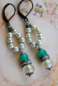 Sadie.romantic,pearl beaded,rhinestone drop earrings. tiedupmemories
