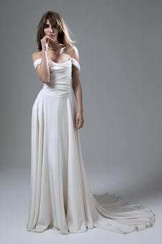 Wedding dress by Halfpenny London | Bridal Fashion by Kate Halfpenny | Soft draped crepe, corset, dress, shoulder ties, full circle skirt, train. Charlotte Dress.