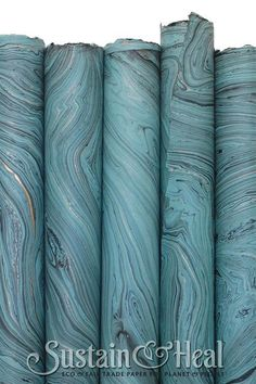 """Teal Handmade Fair Trade Marble Paper. Size 20x30"""" with natural deckle edge. Thin Text Weight and Thick cover weight available."""