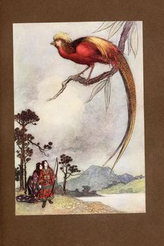 Green Willow : and other Japanese fairy tales (1910)  Illustrations by Warwick Goble    The Singing Bird of Heaven