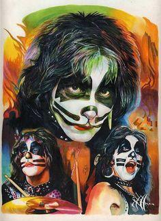 6 drawings by Chris Hoffman of KISS members in makeup Kiss Band, Kiss Rock Bands, Paul Stanley, Gene Simmons, Rock N Roll Music, Rock And Roll, Eric Singer, Los Kiss, Kiss World