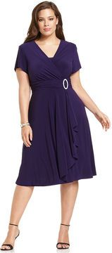 R & M Richards R&M Richards Plus Size Short-Sleeve Faux-Wrap Dress on shopstyle.com