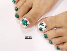 Korean Nail Art #Cactus #Nails #pedicure #Cartoon I #Akiwarinda