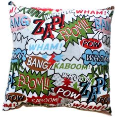 POW Superhero Comics Pillow Hipster Geek Home Decor by AllegraB, $14.00--for my bro maybe