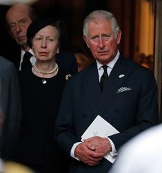 Princess Anne, The Princess Royal and Prince Charles, Prince of Wales attend the funeral of Patricia Knatchbull, Countess Mountbatten of Burma at St Paul's Church, Knightsbridge on June 27, 2017 in London, England.