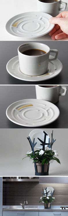 Coffee Cup & Saucer Maze Set; the saucer is styled as a maze and the cup is simple, but locks into the saucer's center
