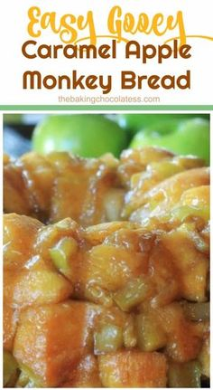 Easy Gooey Caramel Apple Monkey Pull Apart Bread - Gooey caramel sauce and baked apples are entertwined in this right-out-of the oven, warm, fluffy, amazing pull-a-part monkey bread. OMG!!