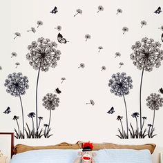 Butterfly Flying In Dandelion Wall Stickers #stylish_things #wall_stickers #decoration #home_decor_ideas #decorating_ideas #interior_decoration