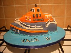Lifeboat cake modelled from a photograph by Cheryl