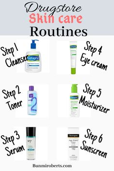 The best AM and PM drugstore skincare routine for a clear glowy skin Clear Skin Routine, Skin Care Routine Steps, Nightly Skin Care Routine, Simple Skin Care Routine, Daily Face Care Routine, Facial Routine Skincare, Morning Skincare Routine, Night Routine, Haut Routine