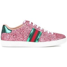Gucci Ace glitter sneakers (630 CHF) ❤ liked on Polyvore featuring shoes, sneakers, gucci, gucci shoes, glitter shoes, gucci sneakers and gucci trainers