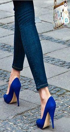 #blue #high #heels #shoes