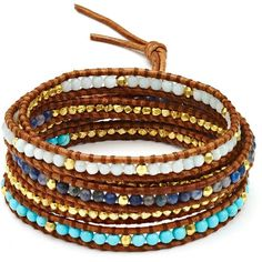Chan Luu Turquoise Beaded Wrap Bracelet ($245) ❤ liked on Polyvore featuring jewelry, bracelets, wrap bracelet, bohemian jewelry, chan luu jewelry, bohemian style jewelry and boho jewelry