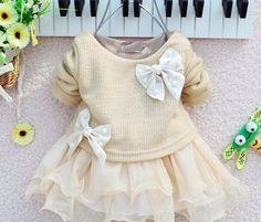 Creme off white christmas girls dress baby infant newborn for age 6, 9, 12, 18, 24 months old long sleeves sweater tutu skirt