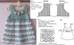 Two cute little dresses units of crochet for girls! You will love - Crochet Designs Free Crochet Baby Dress Pattern, Crochet Pants, Black Crochet Dress, Lace Knitting Patterns, Crochet Blouse, Crochet Clothes, Crochet Girls, Crochet For Kids, Baby Girl Dresses