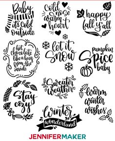 DIY Vinyl Decals for Tumblers: Cozy Fall & Winter Sayings! - Jennifer Maker - DIY Vinyl Decal Sayings for Fall and Winter — Free SVG Cut Files for Tumblers, Signs, Shirts, Bag - Winter Quotes, Winter Sayings, Christmas Decals, Vinyl Quotes, Vinyl Tumblers, Diy Letters, Thing 1, Tumbler Designs, Maker