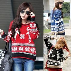 Lovely Women Lady Casual Christmas Deer Pullover Crewneck Loose Knit Sweater D_L = 1958427844