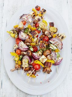 "Chargrilled veg kebabs with halloumi cheese - the ""grilling cheese""  