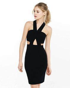 This enticing sleeveless mini comes in a flattering, ribbed fit with a crisscross bodice that opens into alluring peeps of skin at the sides, center back and front midriff. Let this dress give you legs for days with killer heels at your feet.
