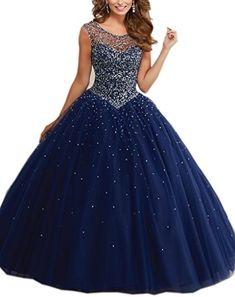 Mollybridal Tulle Long Pearls Sheer Neckline Ball Gown Quinceanera Prom Dresses Navy 2 Mollybridal http://www.amazon.com/dp/B019ME1QR0/ref=cm_sw_r_pi_dp_9TNVwb12D62ZJ