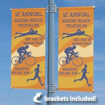 Street Pole Banner Sets Come Equipped with the Necessary Bracket Hardware to Create a Double-Wing Configuration