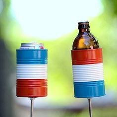 Items similar to 2 Hobo Tin Can Beer Holders/ Red White and Blue Garden Drink Holders/ Patriotic Stake Drink Holders - Fourth of July Accessory on Etsy Door Prizes, Can Holders, Blue Garden, Hobo Style, Drink Holder, Good Old, Fourth Of July, Outdoor Chairs, Red And White