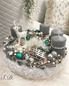 Stunning Sweater Wreath With Candles And Lovely Accents; Table Decorations; Christmas Candles; DIY Christmas Centerpiece; Christmas Crafts; Christmas Decor DIY; Rustic Natural Decoration; Home Decor;