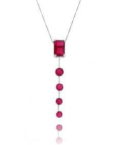 colar rubi gravatinha com banho de rodio semi joias sofisticadas