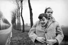 Audrey Hepburn and husband Mel Ferrer stop to take pictures on a country road outside Paris, 1956. Photographs by Michael Ochs.