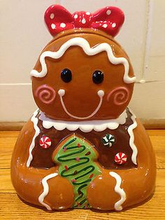 Adorable Large Ceramic Girl Gingerbread Cookie Jar w/ Red Polka Dot Bow