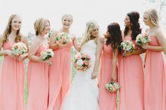 Peach bridesmaid dresses | Mae Small Photography