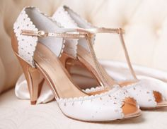 Monique by Rachel Simpson. Monique area stunning Twenties inspired wedding pumps with a multi tone finish. Created with an elegant t-strap desig