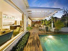 Indoor pool design using tiles with verandah & ground light