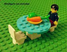 LEGO Custom Furniture - Azure Kitchen Table Chairs Plate Food Carrot Apple New!! #LEGO #LEGOModular #LEGOFurniture #LEGOKitchen