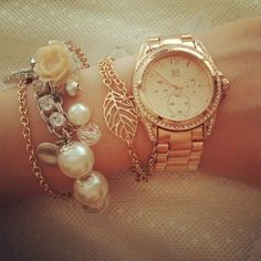 rose bracelet and the rose gold wrist clock :)