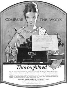 royal typewriters 1920 (by Captain Geoffrey Spaulding) Vintage Advertisements, Vintage Ads, Vintage Photos, Learn To Type, Royal Typewriter, I Am A Writer, Vintage Typewriters, Floral Illustrations, Sloth