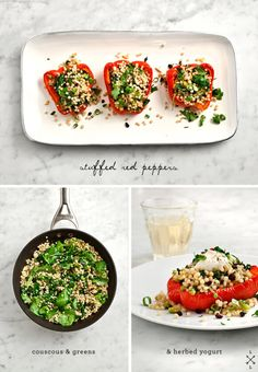 Couscous Stuffed Red Peppers - A fresh late-summer dinner. Red peppers are stuffed with a delicious mix of kale, mint, pine nuts, and cilantro. Vegan.