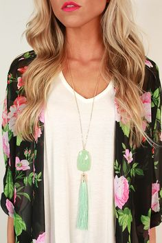 Think Happy Be Happy Tassel Necklace in Mint