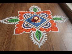 Simple , Easy and Quick freehand Rangoli designs with colours/ Rangoli Designs by Shital Daga Simple Rangoli With Dots, Simple Rangoli Border Designs, Rangoli Simple, Rangoli Designs Flower, Rangoli Borders, Small Rangoli Design, Rangoli Patterns, Rangoli Ideas, Rangoli Designs Diwali