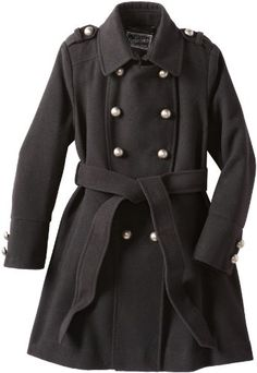 Rothschild Girls 7-16 Big Faux Wool Military Style Coat Grey 8