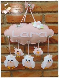 "baby's name ""cloud"" w/owls (in choice of color) dangling in felt Owl Crafts, Baby Crafts, Diy And Crafts, Felt Banner, Felt Mobile, Felt Baby, Felt Decorations, Felt Patterns, Felt Toys"