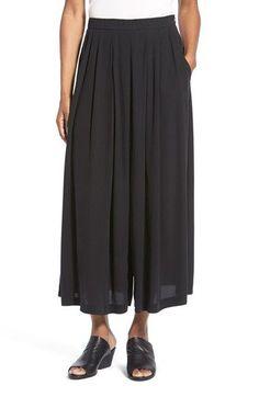 Eileen Fisher Silk Pleat Front Wide Leg Pants