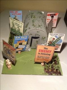 Anderson bomb shelter for world war  II project. It features a overload of posters promoting dig for victory, recycling and bomb shelter etiquette to symbolise the importance of propaganda posters during the period.