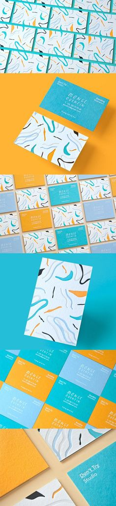 Playful And Bright Textured Letterpress Business Card For A Designer