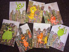 From the Art Class of Mangapapa School Easy Art Lessons, Art Lessons Elementary, First Grade Art, Grade 3, Magazine Collage, Alien Art, Easy Art Projects, Teaching Art, Teaching Ideas