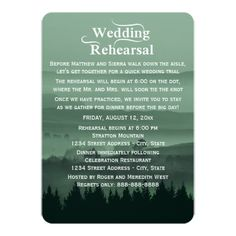 Shop Green Rustic Mountain Wedding Rehearsal Dinner Invitation created by bridalwedding.