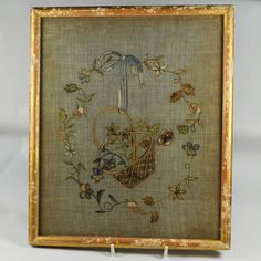 English Darning Sampler Needlework Picture C 1780-1820