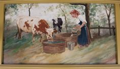 Milkmaid    The following outer rounding board paintings are professionally restored paintings originally placed in 1910 for the Silver Beach Fred Dolle Carousel in St. Joseph, Michigan. They were painted by German immigrant, August Wolfinger. They were restored during the period of 2007-2008, by Denver based fine artist and professional restorer, Eddie Friedman, now deceased.